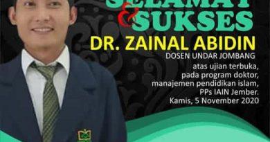 Selamat dan Sukses DR. Zainal Abidin